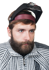 the man with a beard in magnifying points