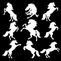 Silhouettes of animals (vector horses clipart )1