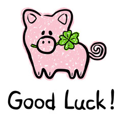 Good Luck Card With Lucky Charm Pig And Four-Leaved Shamrock