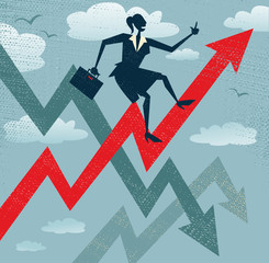 Abstract Businesswoman Climbs the Sales Chart.