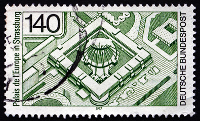 Postage stamp Germany 1977 Palace of Europe, Strasbourg