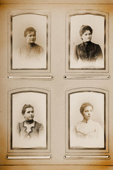 Historische Frauen Fotos in Foto-Album, retro, vintage, sepia