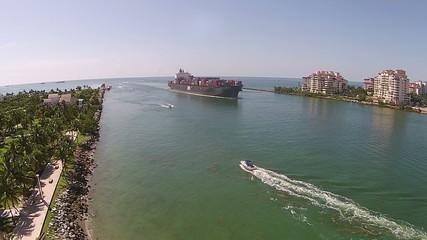 Cargo ship near Miami, Florida