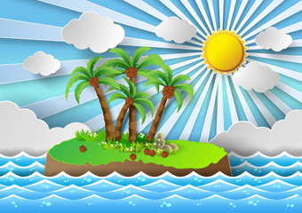Tropical palm on island with sea and sunlight.vector illustratio