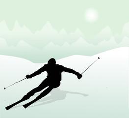 silhouette di sciatore in montagna