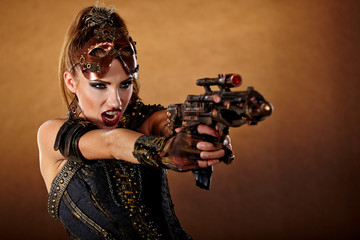 Steampunk woman. Fantasy fashion for cover.