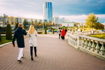 View of the modern architecture of Minsk, from the area Nyamiha,