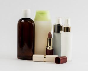 Shampoo bottls and lipstik