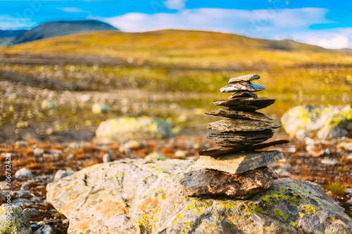 Staande foto Scandinavië Stack Of Rocks On Norwegian Mountain, Norway Nature