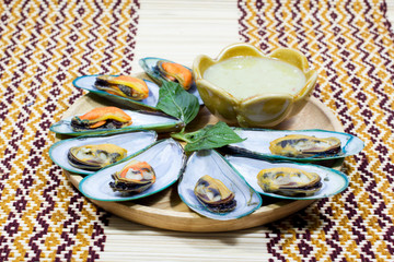 Asian green mussel with chili sauce