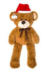 Großer Teddy Bär als Weihnachtsmann isoliert auf weiß