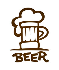 Sign of mug with beer contours silhouette. Eps10 vector