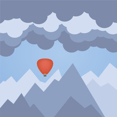 Flat illustration of hot air balloon, on a background of