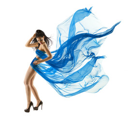 Woman Sexy Dancing in Blue Dress. Fashion Model Waving Fabric