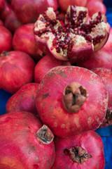 Pomegranates at the Market.  Fresh farmer's market pomegranates.