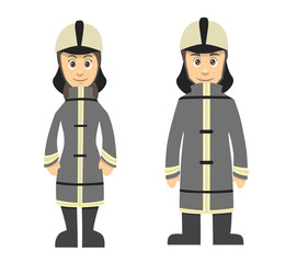 Firefighter Man And Women Couple Standing