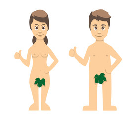 Adam And Eve Couple Thumbs Up