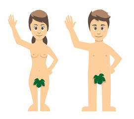 Adam And Eve Couple Waving