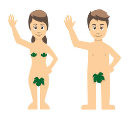Adam And Eve Couple Waving Properly Dressed
