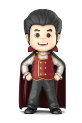 3D render of a boy wearing Halloween dracula costume