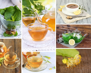 Collage of tasty tea