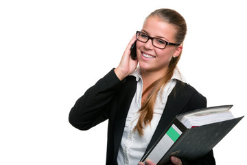Business Frau mit Akte und Telefon