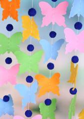Handmade garland on light background