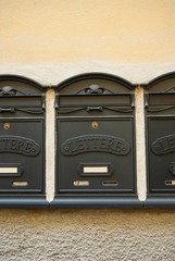 Cassette Postali, cassette delle lettere, nero