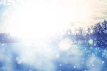 Winter background with lots of snowing white bokeh