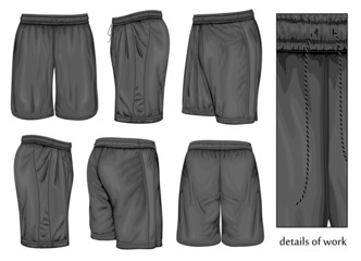Men's black sport shorts.