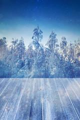 Empty wooden floor nature background winter