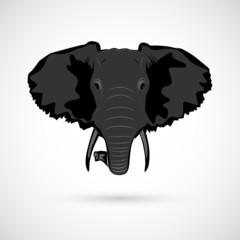 Elephant head sign black