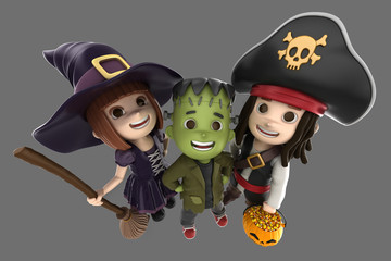 3d render of children wearing halloween costume