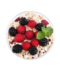 Healthy breakfast - yogurt with  fresh berries and muesli