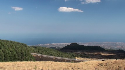 Scenic view from the foot of Mount Etna at the Catania coast.