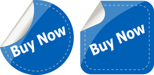 buy now word on stickers button set, business label