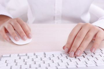 Female hands typing on keyboard on light background