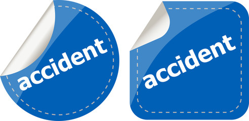accident stickers set on white, icon button