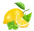 Fresh lemons with leaves and mint.