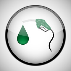 Green Fuel nozzle with drop in circle frame. Icon concept