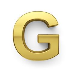 3d render of golden alphabet letter simbol - G