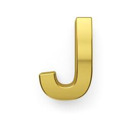 3d render of golden alphabet letter simbol - J