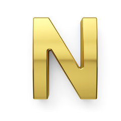 3d render of golden alphabet letter symbol - N