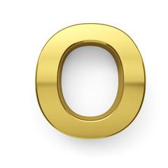 3d render of golden alphabet letter symbol - O