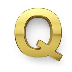 3d render of golden alphabet letter simbol - Q