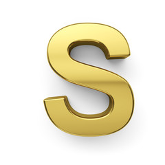 3d render of golden alphabet letter simbol - S