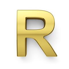 3d render of golden alphabet letter simbol - R