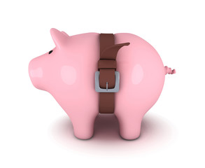 Piggy bank with belt tighten