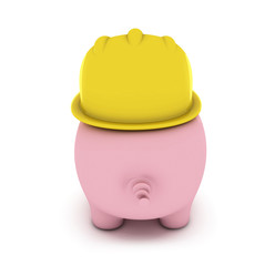 Piggy bank with hardhat