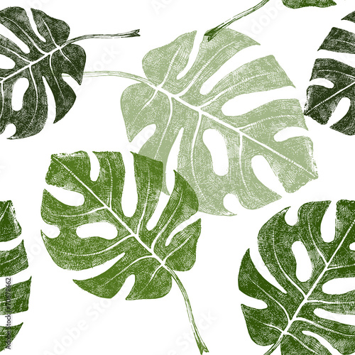 tropical leaves seamless - 70678662